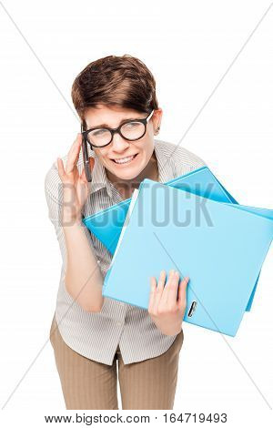Office Worker Busy Working With Folders And Phone On A White Background