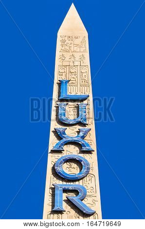 VEGAS NEVADA USA - January 11th 2016: Luxor monolith with hieroglyph