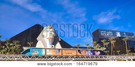 VEGAS NEVADA USA - January 11th 2016: Luxor pyramid sphinx monorail tram and the ad for