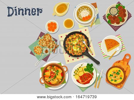 Vegetarian lunch dishes icon of vegetable omelette with tofu, lentil cream soup, vegetable paella, chickpea falafel, pumpkin pie, oat cookie, dessert rice soup with dried fruit. Healthy food design