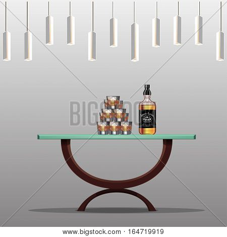 Presentation of elite alcohol. Restaurant bar. Glasses with ice. Bottle of five stars alcohol. Cognac, whiskey, bourbon, brandy, baijiu, rum. Template for design. Vector illustration