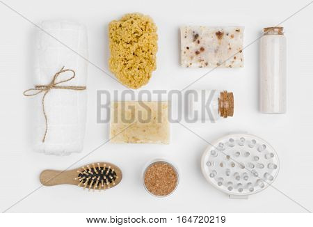 Spa treatment and massage products isolated on white background
