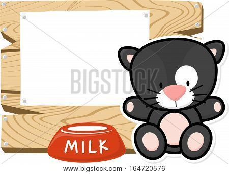 illustration of cute baby black cat on wooden board with blank sign isolated on white background