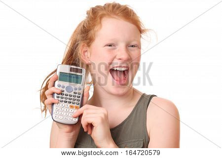 Portrait of a teenage girl with calculator on white background