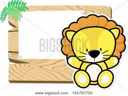 illustration of cute baby lion on wooden board with blank sign isolated on white background