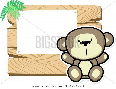 illustration of cute baby monkey on wooden board with blank sign isolated on white background
