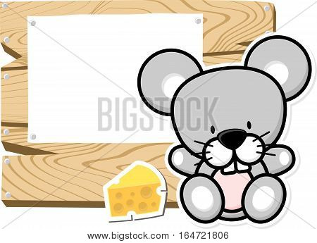 illustration of cute baby mouse on wooden board with blank sign isolated on white background
