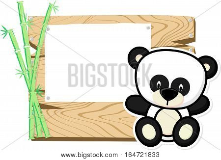 illustration of cute baby panda on wooden board with blank sign isolated on white background