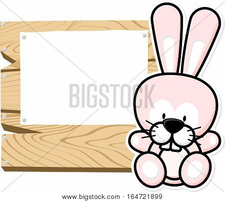 illustration of cute baby bunny on wooden board with blank sign isolated on white background