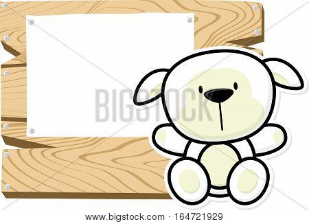 illustration of cute baby sheep on wooden board with blank sign isolated on white background