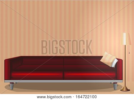 The interior of the room. Lit lamp. Evening time. Red sofa. Style, pattern, design. Vector illustration