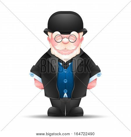 Full length portrait of senior man dressed in formal suit. Cheerful elderly gentleman in a bowler hat isolated on white. Vector illustration 10 EPS