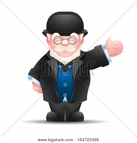 Senior man pointing in one direction. Full length portrait of elderly gentleman dressed in formal suit isolated on white. Vector illustration 10 EPS