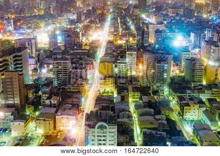 KAOHSIUNG TAIWAN - NOVEMBER 24: This is a view of downtown Kaohsiung financial district at night on November 24 2016 in Kaohsiung