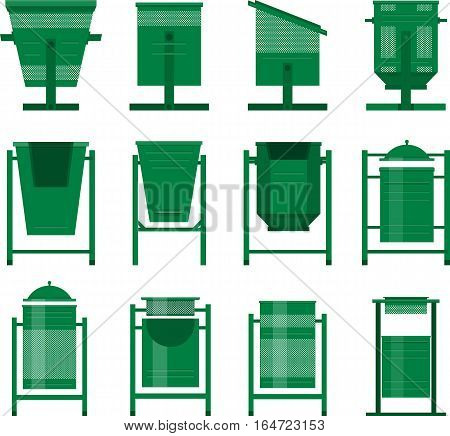 Stock Vector set of isolated street bins for the city park in the same style of different shapes
