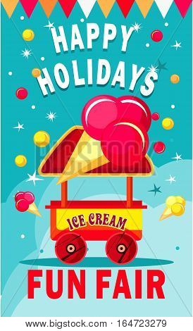 vector illustration of an ice cream cart for fun fairs and festivals on a colored background