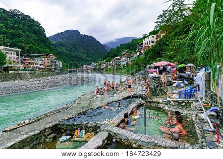 TAIPEI TAIWAN - NOVEMBER 29: This is is a view of public hot spring baths in Wulai village on November 29 2016 in Taipei