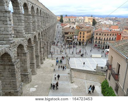 City center of Segovia and the stunning Roman Aqueduct, Spain