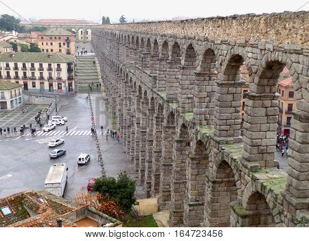 The Aqueduct of Segovia, Awesome Ancient Roman Architecture at the City Center of Segovia, Spain, UNESCO World Heritage