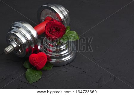 Valentines Sports Background With Dumbbell, Rose And Heart Box.