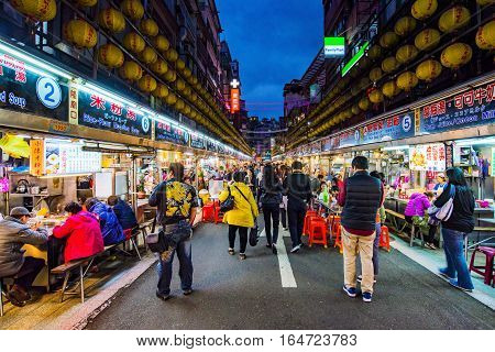 KEELUNG TAIWAN - NOVEMBER 28: This is Keeelung night market a famous night market where people go to eat in Keelung city near Taipei on November 28 2016 in Keelung