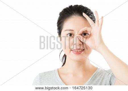Asian Woman Show Ok Gesture For Good Eye Vision