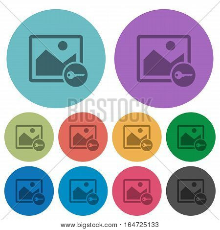 Encrypt image darker flat icons on color round background