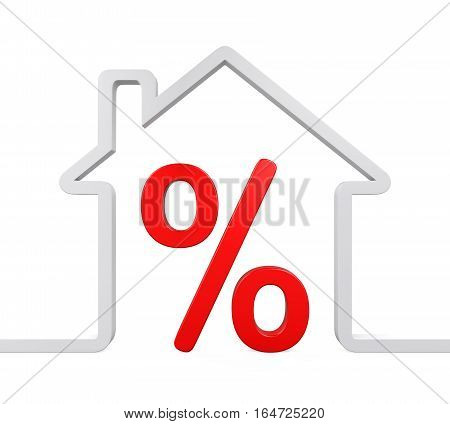 House and Percent Symbol isolated on white background. 3D render