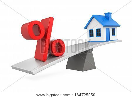 Seesaw, House and Percent Symbol isolated on white background. 3D render