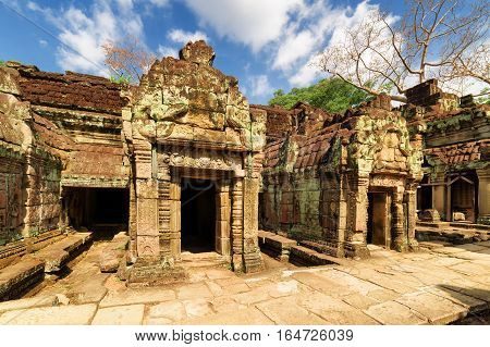 Ancient Buildings Of Preah Khan Temple In Angkor, Cambodia
