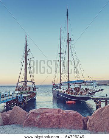 Moored pleasure yachts and boats in marina of Eilat, Israel