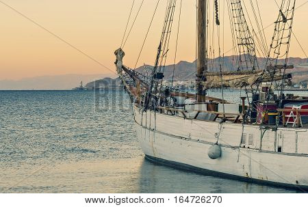 Cruise on yacht in the Aqaba gulf, Eilat, Israel. Eilat is a famous resort and recreational city in Israel