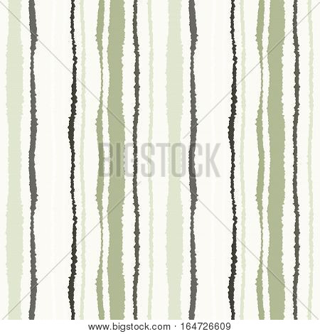 Seamless strip pattern. Vertical lines with torn paper effect. Shred edge texture. Olive, gray, cream colors on white background. Winter theme. Vector