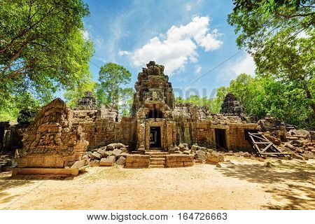 One Of Entrances To Ancient Ta Som Temple In Angkor, Cambodia