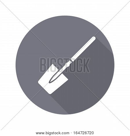 Tool icon. Spade, shovel instrument. Work, job, labour, toil, repair, unskilled, building symbol. White sign on round button with long shadow. Vector isolated poster