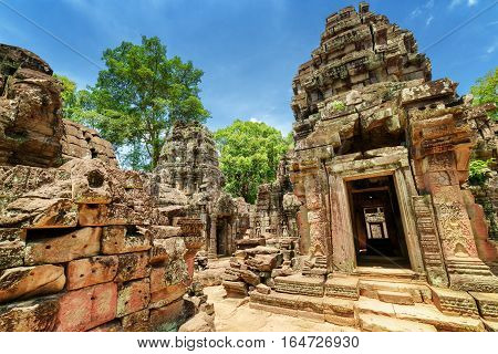 Sanctuary And Ruins Of Ancient Ta Som Temple In Angkor, Cambodia