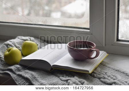 Cozy home still life: cup of hot coffee, green apples and opened book with warm plaid on windowsill against snow landscape outside. Winter holidays and Christmas time concept, free copy space.