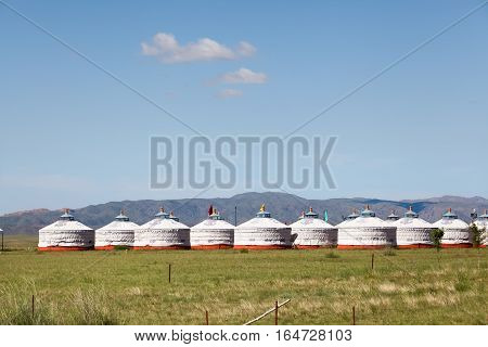 traditional nomadic tents on inner mongolia grassland China