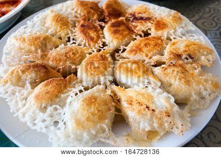 golden fried dumplings enticing traditional cuisine closeup