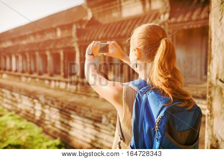 Tourist Taking Picture In The Angkor Wat, Cambodia