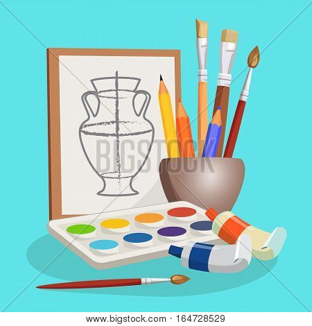 Unfinished picture of vase near little bowl with different brushes, colourful pencils and lying set of paints with watercolours. Vector cartoon illustration of artistic stuff for making pictures