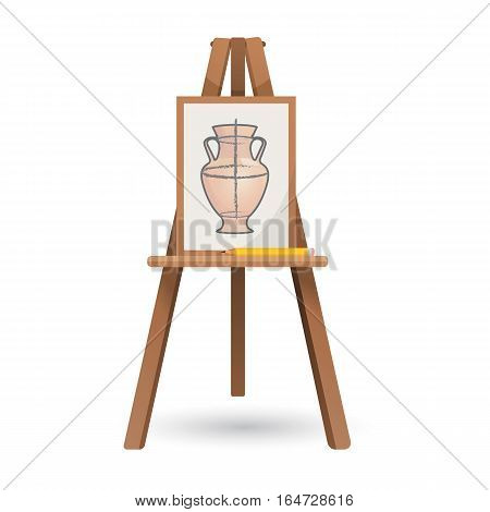 Vector illustration of unfinished vase on isolated wooden easel on white background. Necessary artistic element on three thin legs with space for list of paper for creating different pictures.