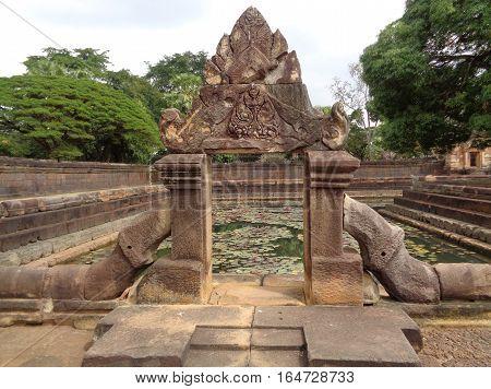 Impressive Ancient Arch of the Lotus Pond at Prasat Hin Muang Tam Temple, Buriram Province in Thailand