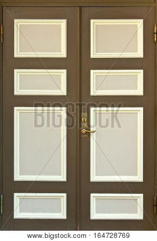 Brown wooden door close up view isoalated
