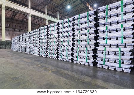 lead ingots in a factory warehouse industrial manufacturing background