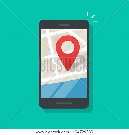 Mobile phone geo location, smartphone gps navigator city map and pin road pointer, roadmap direction, idea of quest game route, found location vector illustration isolated on color background