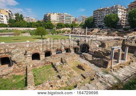 Ruins of ancient Greek Agora (later Roman Forum) in Thessaloniki. Macedonia Greece Europe