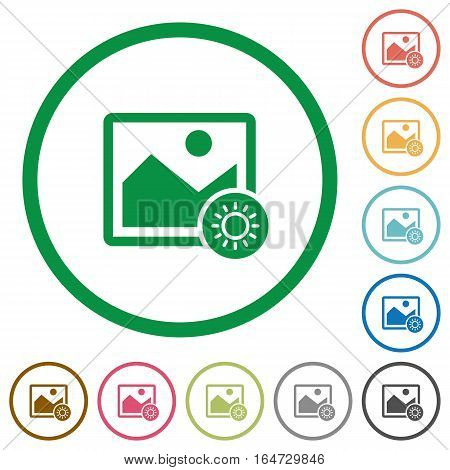 Adjust image brightness flat color icons in round outlines on white background