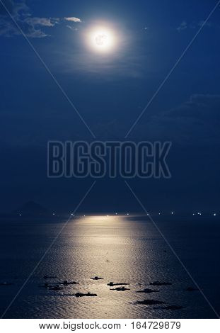 Full Moon Reflected In Water Of South China Sea In Vietnam