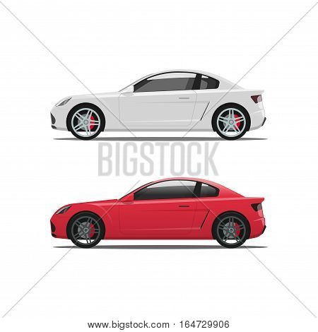 Car side view, auto vector set isolated on white background, white and red cars icons, coupe automobiles flat style